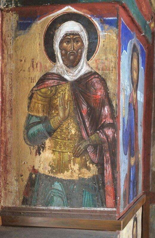 Святой мученик Лонгин Сотник. Фреска церкви Николы Надеина в Ярославле. XVII век.