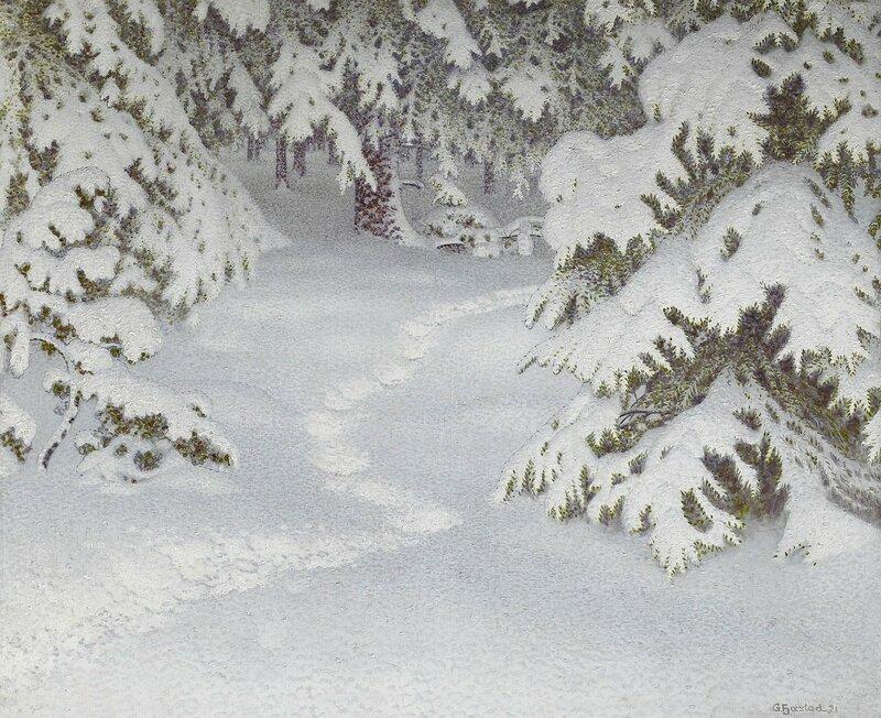 Gustaf Fjaestad. Зимний пейзаж с деревьями, покрытыми снегом. 1921.jpg