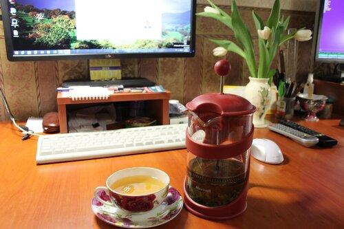 наслаждение чаем за компом