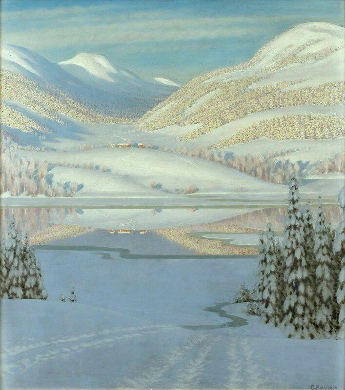 Gustaf Fjaestad. Зимний пейзаж.jpg