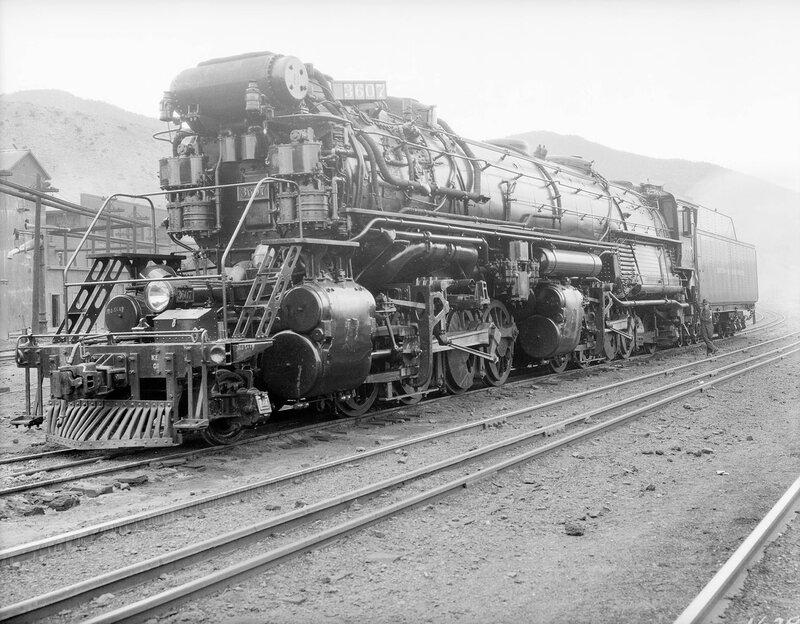 Denver & Rio Grande Western Railroad locomotive 3607, 2-8-8-2 at Salida, Colorado, 1928