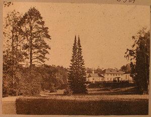 Вид на дом управляющего; на первом плане - двухвершинная пихта на Центральной поляне.