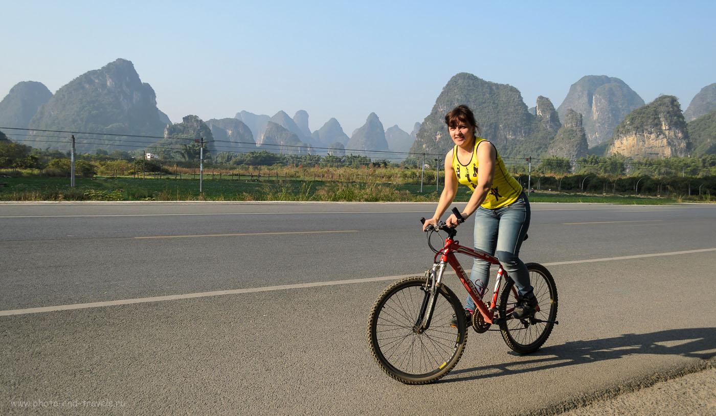 Фото 4. Наши прогулки на велосипедах в окрестностях деревни Яншо (Yangshuo), что в 80-ти километрах от города Гуйлинь. Отдых в Китае. Отчеты туристов.