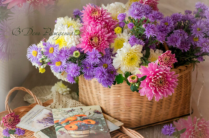 Открытки, цветы и корзина  в придачу...:))