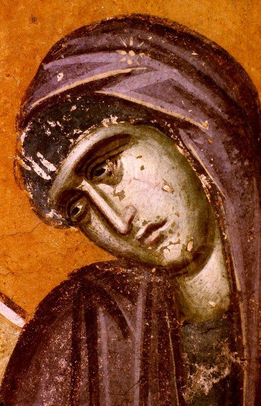 """Фрагмент фрески """"Благовещение Пресвятой Богородицы"""". Монастырь Грачаница, Косово, Сербия. Около 1320 года."""
