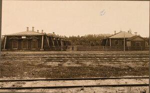 Вид домов, где размещались столовая и продовольственный пункт станции. Виленская губ. Олита ст.
