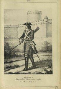 201. ФУЗЕЛЕР Драгунского Гарнизонного полка, с 1720 по 1732 год.