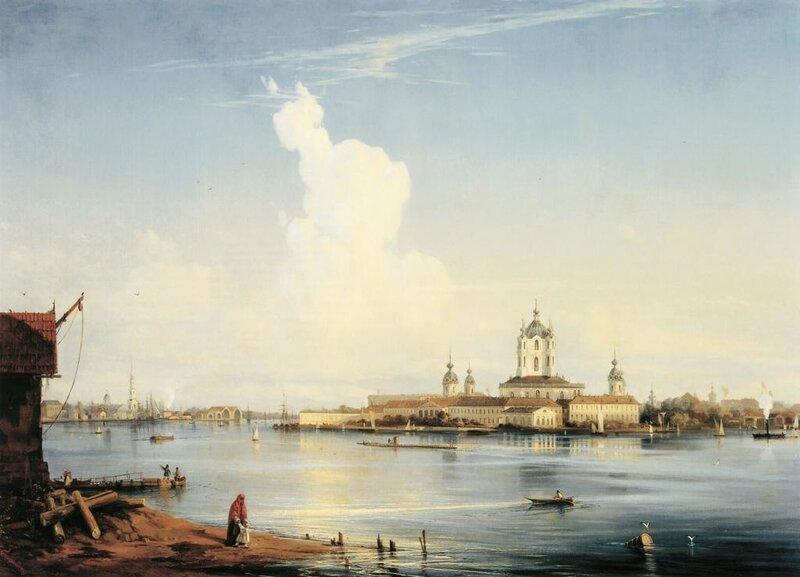 БОГОЛЮБОВ Алексей (1824-1896). Вид на Смольный монастырь с Большой Охты. 1851