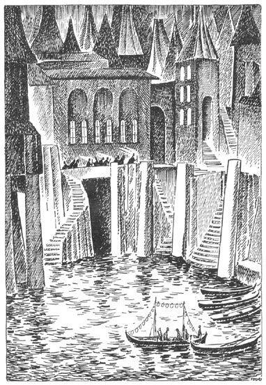 Иллюстрация Туве Янссон к Хоббиту Толкиена (Озёрный город)