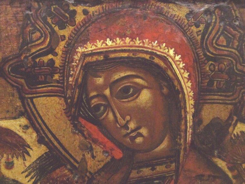 "Икона Божией Матери ""Млекопитательница"". Начало XVIII века. Фрагмент."