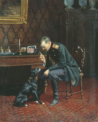 НАРКИЗ БУНИН. Офицер с собакой (В интерьере). 1886.