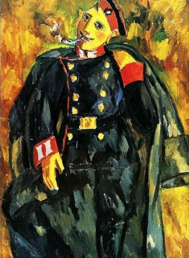 Курящий солдат, 1911 г. Ларионов, Михаил Фёдорович (1881-1964)