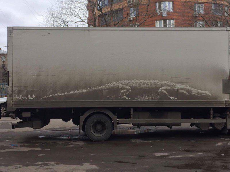 Картины на грязных авто от Никиты Голубева
