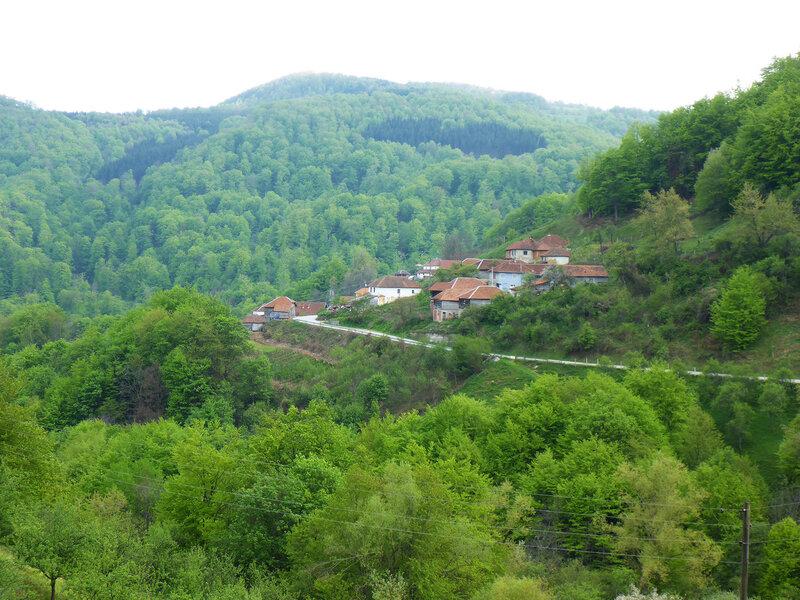 пейзаж в сербии с горой и деревней