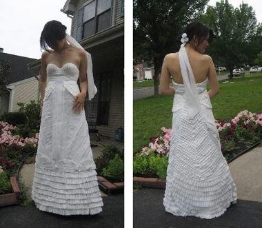 Свадебное платье из туалетной бумаги
