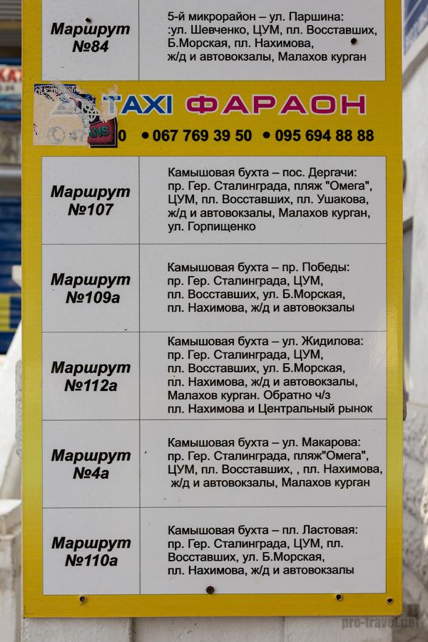 Севастополь. Вокзал. Маршруты городского транспорта