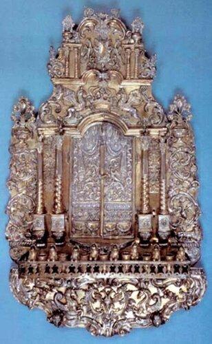 Хануккия (1787 г. серебро, литье)