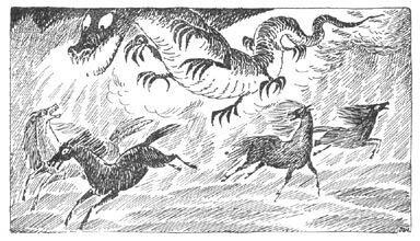 Иллюстрация Туве Янссон к Хоббиту Толкиена (Дракон Смог)