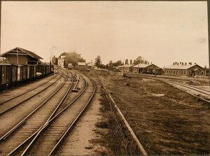 Вид домов и железнодорожных путей вблизи станции (со стороны Вильны). Виленская губ. Олита ст.