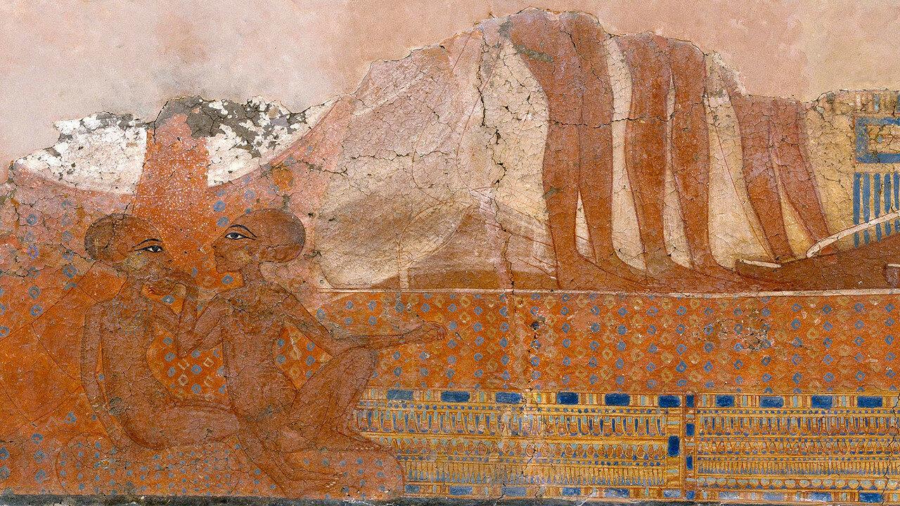 Дочери Эхнатона и Нефертити, в росписи  в Тель-эль-Амарна, около 1345-1335 до н.э.