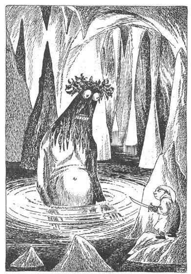 Иллюстрация Туве Янссон к Хоббиту Толкиена (Горлум и Бэггинс - загадки в темноте)