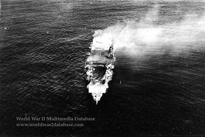 IJN Hiryu Burning and Abandoned