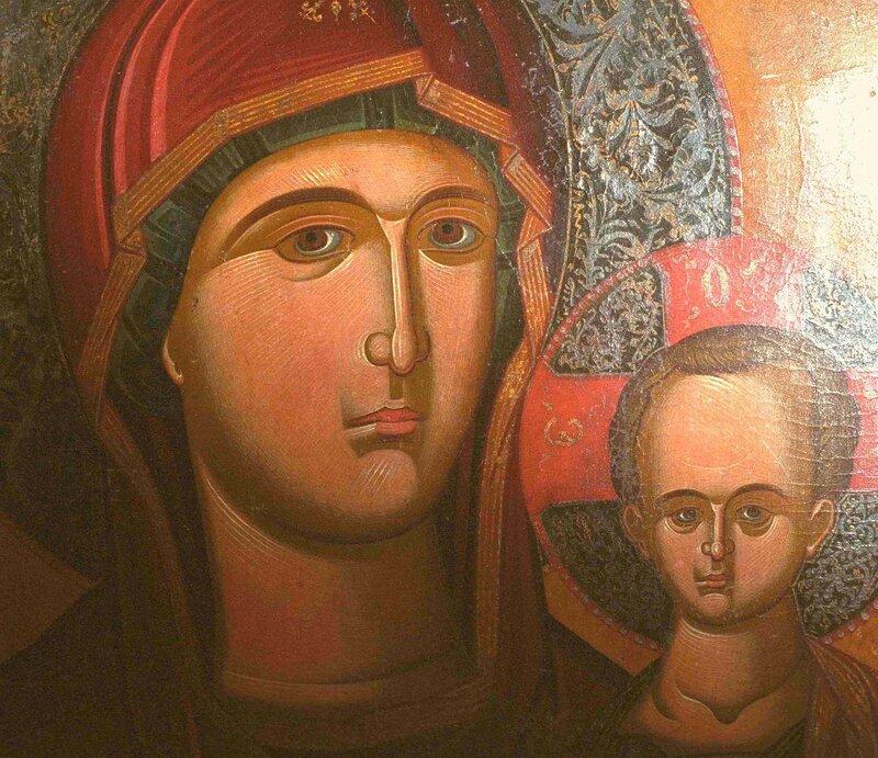 Богоматерь Одигитрия. Икона. Кипр. Фрагмент.