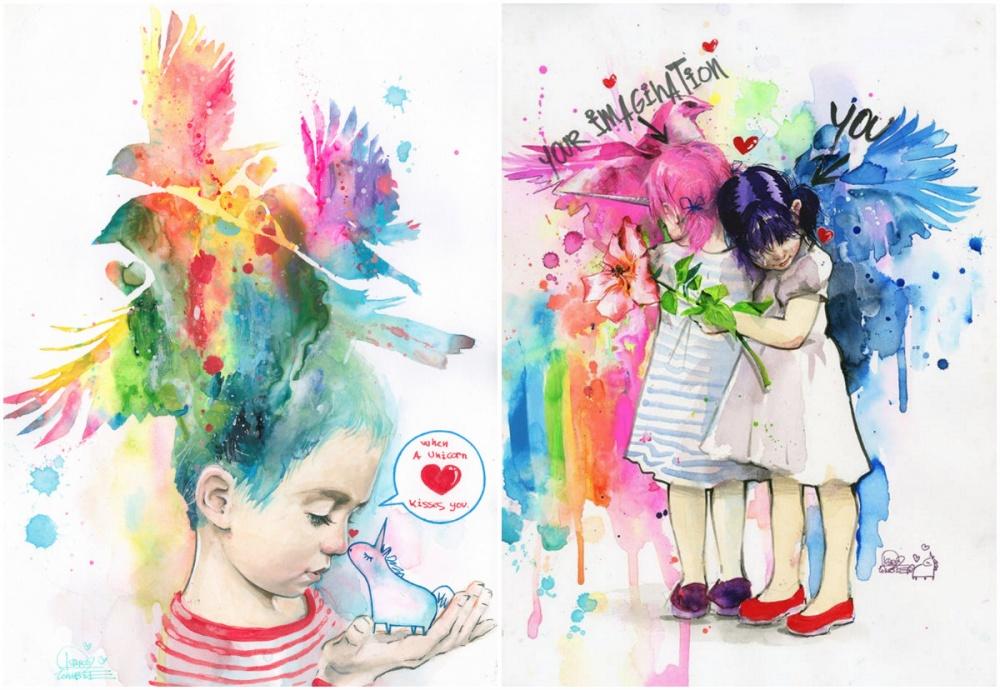 Картины Лоры Зомби — это соприкосновение наивного, доброго мира сжесткой реальностью. Впечатление