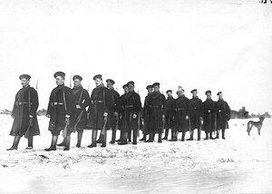 Отряд солдат лейб-гвардии Финляндского полка на учении в бригаде.