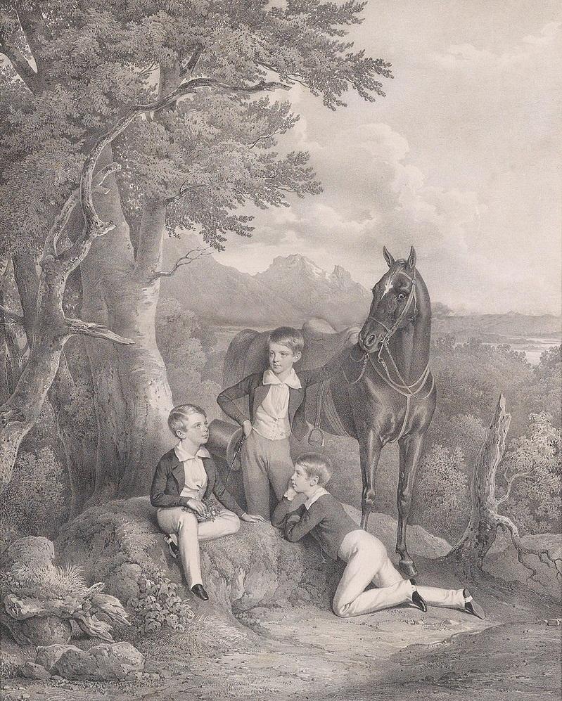 Франц Иосиф с братьями в 1844 году. Слева направо:Франц Иосиф, Фердинанд Максимилиан, Карл Людвиг. Йозеф Крихубер