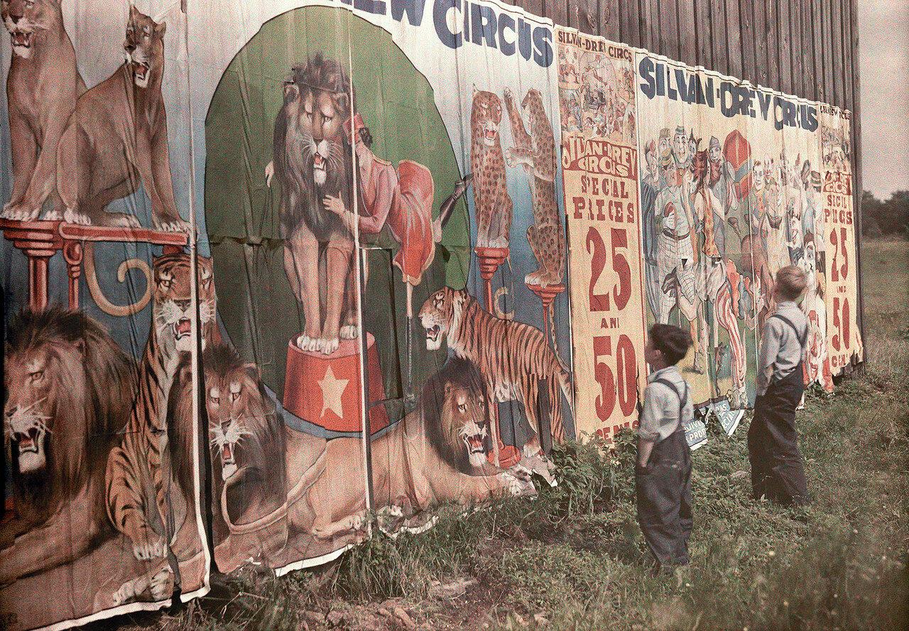 1930. США. Дети рассматривают цирковые афиши