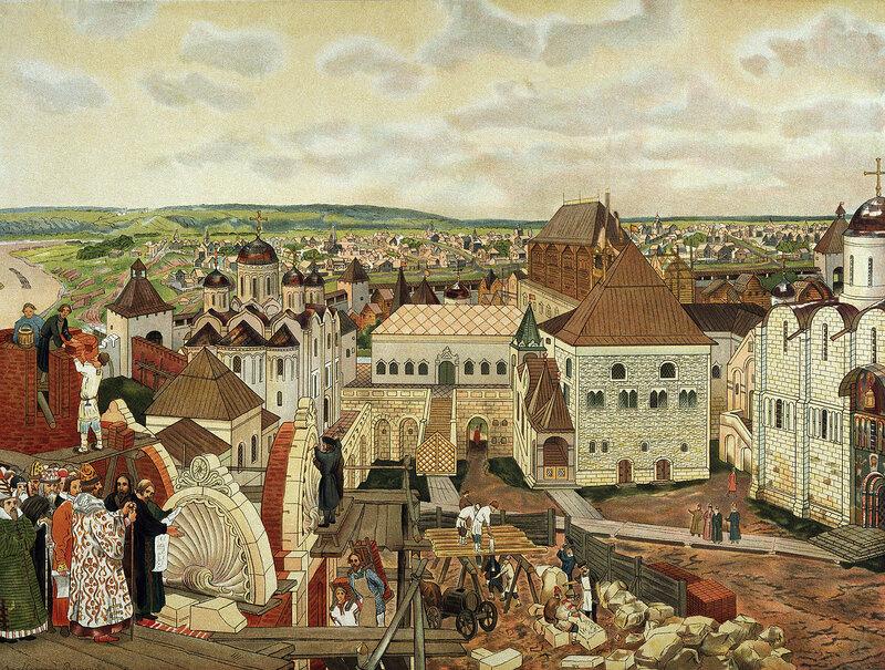 Аполлинарий Васнецов(1856-1933) В Московском Кремле.Акварель.