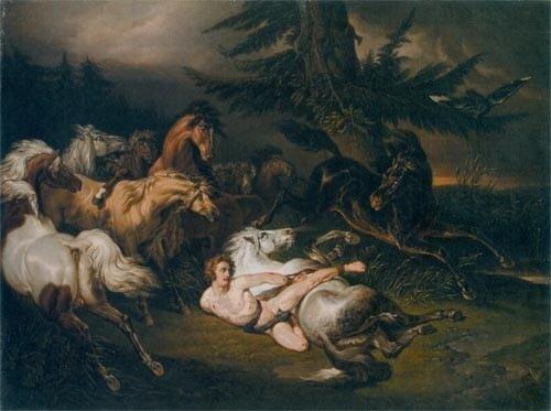Наль. Мазепа, окруженный дикими лошадьми 1830.