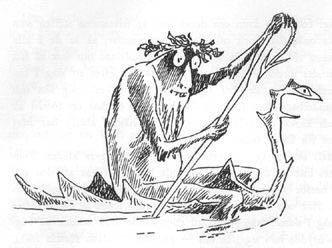 Иллюстрация Туве Янссон к Хоббиту Толкиена (Горлум на лодке)