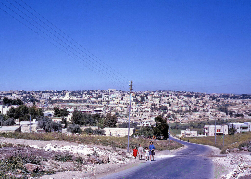 1961 Israel New Jerusalem from Mount of Olives Road People Walking Rockefeller Museum.JPG