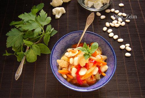 Салат с цветной капустой и фасолью
