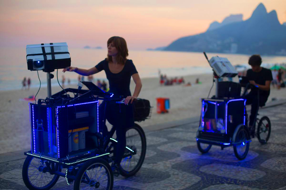 Audiovisual Tricycles by 'VJ Suave' Project Animations on the Streets of Rio de Janeiro