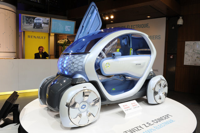A Twizy Z.E. (Zero Emission) concept car is displayed at the Renault Champs Elysees showroom in Pari