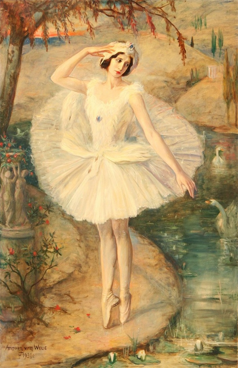 Antoon van Welie (Dutch, 1866-1956) - Portrait of ballerina Anna Pavlova in Swan Lake
