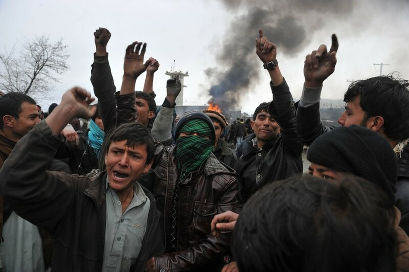 Afghan demonstrators shout anti-US sloga
