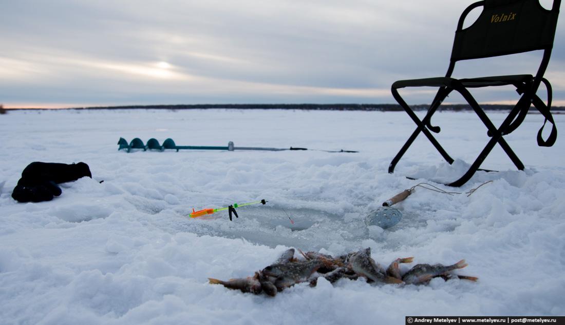 Закат на зимней рыбалке