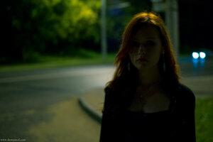 Shadow девушка, Misty, портрет, ночь, город