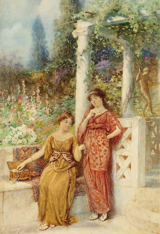 Две итальянских дамы в парке восхищаются драгоценными камнями