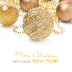 composition with different golden Christmas balls, isolated