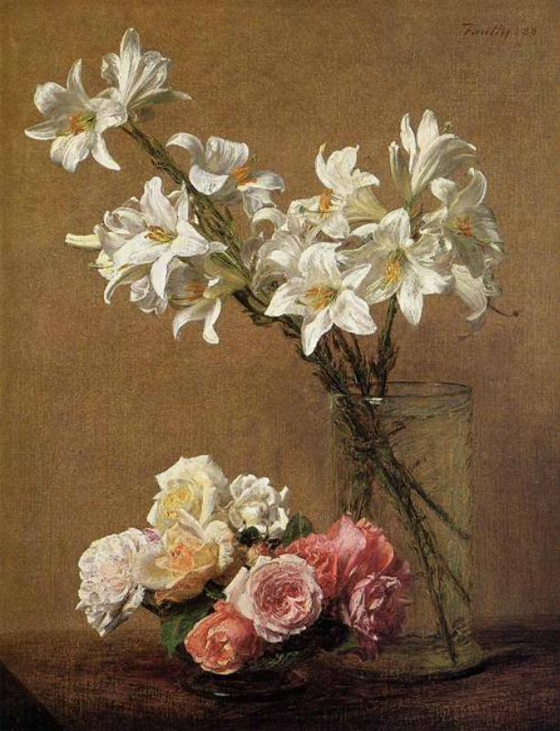 Henri Fantin-Latour (French Realist Painter, 1836-1904) Roses and Lilies 1888.jpg
