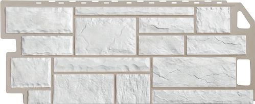 Цокольный сайдинг под камень Цвет: Мелованный белый