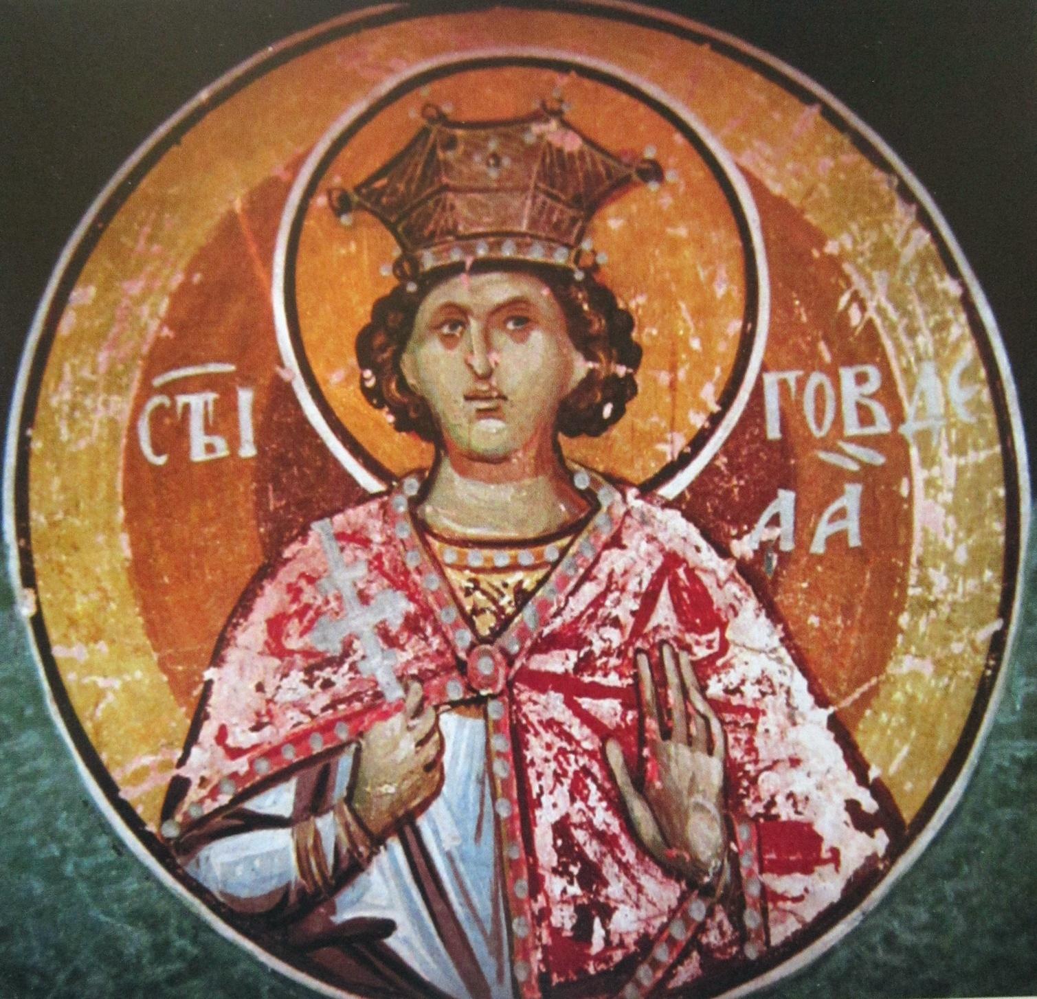 Святой мученик Гаведдай. Фреска монастыря Св. Иоанна Богослова в Поганово, Сербия. Конец XV века.