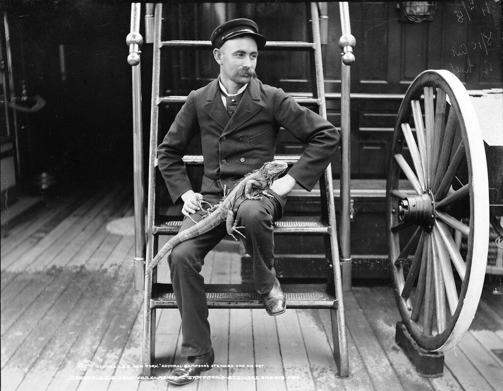 USS New York (Armored Cruiser #2), Rear Admiral William T. Sampson's steward and his pet. between 1893-1901