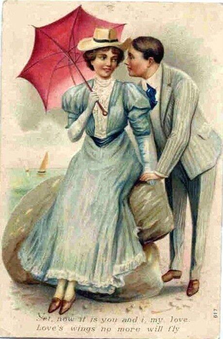 Старинная открытка с влюбленными, открытка текст