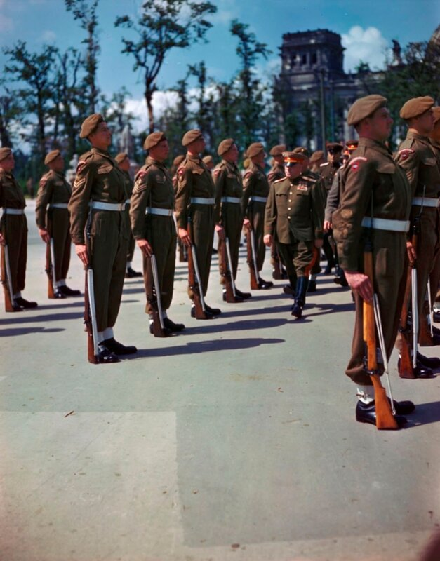 Marshal of the Soviet Union Zhukov reviewed the guard of honor of Canadian soldiers on the square in front of the Reichstag in Berlin 12th July 1945